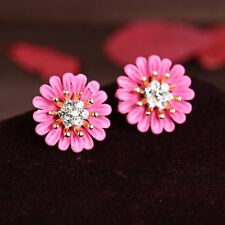 Elegant Vogue Women Lady Girls Crystal Rhinestone Flower Ear Stud Earrings