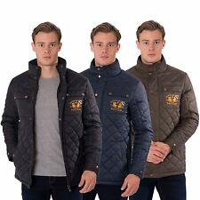 Mens Casual Quilted Coat Windbreaker Funnel Neck Heritage Jacket by Santa Monica