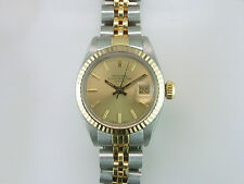 Rolex Ladies Oyster Perpetual Date 6917 18K Gold & SS Champagne Dial Watch