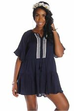 121AVENUE Ruched Front Trim Dress S M L Small Medium Large Women Blue Casual USA