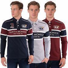 Mens Casual Rugby Polo Shirt Collared Long Sleeve Top by Santa Monica Size S-XL