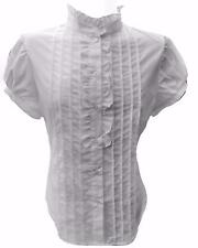 White Cotton High Neck Ruffle Blouse Shirt-14 victorian steampunk pirate work