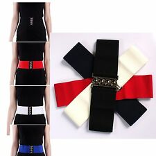 "Fashion Women 3"" Wide Stretch Waist Band Elastic Cinch Belt With Clasp Buckle"