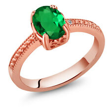 1.01 Ct Green Simulated Emerald White Diamond 18K Rose Gold Plated Silver Ring