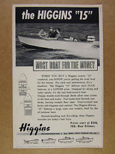 1958 Higgins 15 Custom Runabout boat photo vintage print Ad