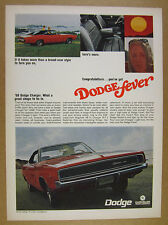 1968 Dodge Charger red & black car photo vintage print Ad