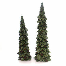Christmas HOLLY CHRISTMAS TREES SET/2 Polyresin Decor Glittered 9722928