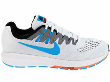 NEW MENS NIKE AIR ZOOM STRUCTURE 20 RUNNING SHOES TRAINERS WHITE / BLACK / HOT