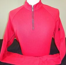 NEW MENS ADIDAS GOLF L/S WARM ½ ZIP 3-STRIPE PULLOVER, UNIVERSITY RED, PICK SIZE