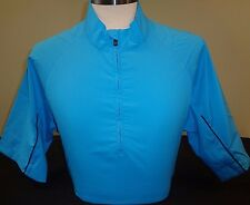 NEW MENS ADIDAS GOLF S/S CLIMAPROOF WIND 1/2 ZIP JACKET, AQUATIC/NAVY,MEDIUM,$90