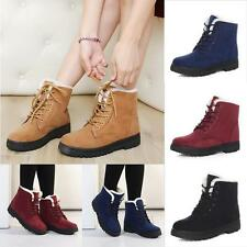 Womens Faux Suede Ankle Snow Boots Flats Fur Fleece Lace-up Winter Warm Shoes