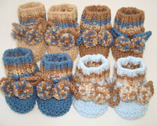 Hand Knitted DK Cute Baby Stripe Booties Bootees With Pompoms newborn 0-3 mths