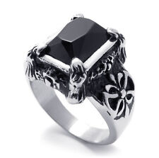 316L Titanium Steel Ring with Mosaic Black Agate Inlay for Men or Women