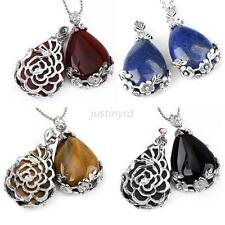 Chic Womens Amethyst Gemstone Teardrop Flower Pendant Bead For Sweater Necklace