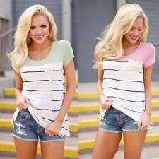 New Fashion Womens Summer Short Sleeve Stripe Casual Loose Tops Blouse T-shirt
