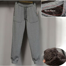 Mens Winter Fleece Casual Sports Loose Pants Trucksuit Jogging Gym Trousers