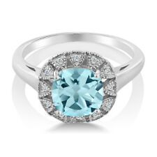 2.74 Ct Cushion Sky Blue Topaz And White Diamond 925 Sterling Silver Ring