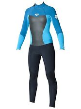 ROXY SYNCRO 3/2 fullsuit girl's size 2G new NWT turquoise/blk - back zip wetsuit