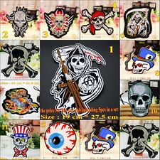 Wholesale 10pcs/set Skull Embroidered Applique Iron/Sew on Patches DIY
