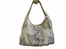 "NWT Coach Madison ""Maggie"" Metallic Python Leather Natural Shoulder Bag #18929"