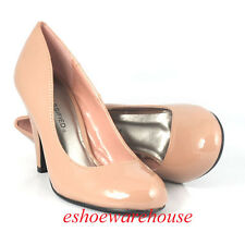 Nude Taupe w/  Blush Tone Patent Cutie Sexy Cone Heel Round Toe Pumps Shoes