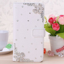 3D Crystal Magnetic Diamonds cherry blossom PU leather wallet flip case cover #C