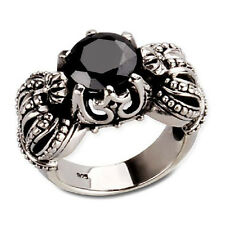 Black Onyx Gemstone Inlaid Double Crown Ring for Men's Fashion Apparel SZ15-1294