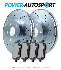 (REAR) POWER CROSS DRILLED SLOTTED PLATED BRAKE ROTORS + CERAMIC PADS 82518PK