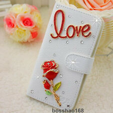 Bling Luxury love red rose flower Diamonds Crystal PU Leather flip Cover Case #G