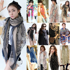 Women's Printed Long Soft Scarf Wrap Ladies Voile Shawl Scarves Stole Xmas Gift