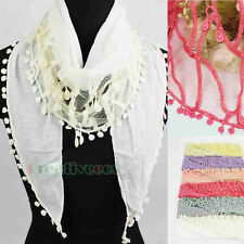 Fashion Women's Stitching Dot Lace Tassel Soft Triangle Cotton Scarf Shawl Wrap