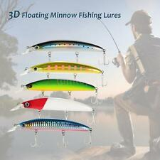 Trulinoya 11cm 3D Floating Minnow Fishing Lures Bait Hooks Bass Tackle H9O8