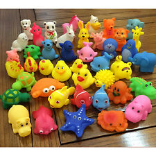 Soft Rubber Kids Toy Baby Wash Bath Swimming Float Sqeeze Sound Cute Animals Toy