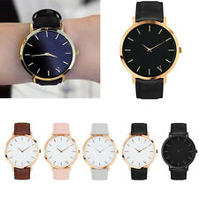 Women Men Simple Casual Watch Quartz Analog Gold Dial Leather Band Wrist Watches