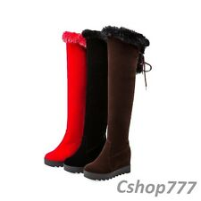 Winter Womens Faux Suede Fur Trim High Heels Wedges Knee High Boots Shoes Size 8