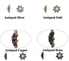 Antiqued Gold Silver Copper OR Brass Plated Pewter Snowflake Bead Caps