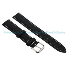 PU Leather Stainless Steel Clasp Buckle Black Watch Band Strap 18-24mm