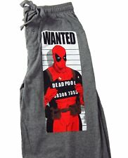 Mens Womens NEW Marvel Deadpool Wanted Gray Pajama Lounge Pants Size S-XL
