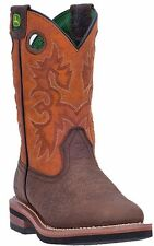 John Deere Youth JD3319 Boys Pull On Dark Brown Design Rust Western Cowboy Boots