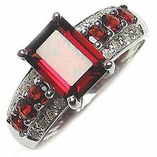Wedding Size 7,8,9,10,11 Red Garnet Gold Filled Fashion Anniversary Lady Ring