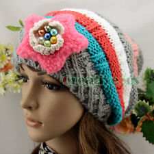 Fashion Women's Beanies Winter Wool Knit Colorful Baggy Earflap Hat 5Pom Ski Cap