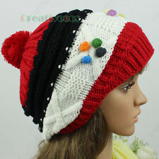Fashion Women's Winter Ski Cap Knit Wool Warm Hat Colorful Dot Pom-Pom Beanies