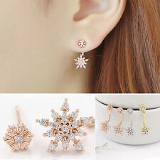 Elegant Snowflake Crystal Rhinestones Dangle Ear Stud Earrings Fashion Jewellery