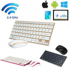 2.4GHz Mini Slim Metal Wireless Keyboard and Mouse Kit For Computer Laptop LOT