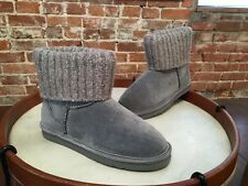Lamo Grey Suede Water Resistant Sweater Cuff Empire Pull on Boots NEW