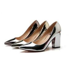 New Fashion Womens Pointed Toe Shoes Patent Leather High Block Heels Party Pumps