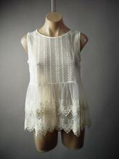 Ivory Eyelet Embroidered Sheer Lace Tiered Babydoll Cami Top 207 mv Blouse M L