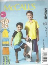 McCALL'S SEWING PATTERN CHILDREN'S BOYS' SHIRT TOP & SHORTS SIZES 3 - 14 M6548