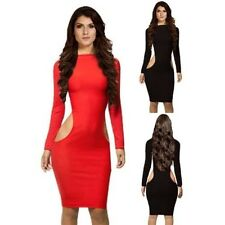 Sexi dress al knee suit new year's elegante evening BLACK RED hips bare