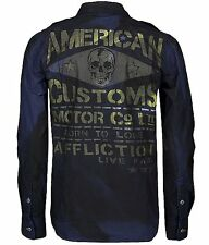 Affliction FASTER ROAD Button Down Shirt L 2XL NWT NEW Skull Blue XXL 10WV481